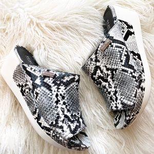 KENNETH COLE REACTION snakeskin wedge sandals